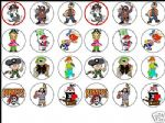 24 x MIXED PIRATE 1.6'' rice paper cake toppers tops